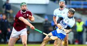 Waterford's Jamie Barron in action against Galway's Cathal Mannion during the Allianz Hurling League Division 1B encounter. Photo: Ken Sutton/Inpho