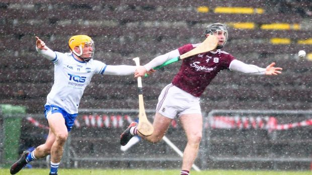 Galway's Aidan Harte and Waterford's Peter Hogan in action during the Allianz Hurling League Division 1B. Photo: Ken Sutton/Inpho