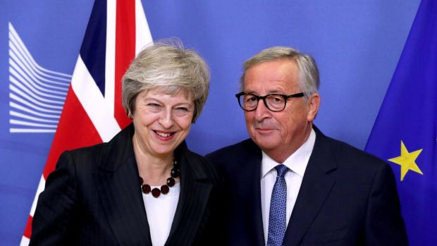 British prime minister Theresa May and European Commission president Jean-Claude Juncker ahead of negotiations in November 2018. Photograph: Yves Herman/Reuters