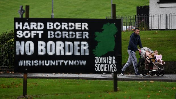 'The potential chaos and uncertainties of a no-deal Brexit have led everyone to assume a way will be found to avoid it. So far this has not happened.' An anti-border poster in Derry. Photo by Charles McQuillan/Getty Images