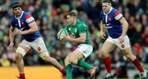 Jordan Larmour of Ireland in action during the Six Nations win over France. Photograph: David Rogers/Getty Images
