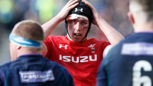 Adam Beard of Wales in action during the Six Nations victory over Scotland. Photograph: Robert Perry/EPA