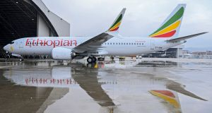An Ethiopian Airlines Boeing 737 Max 8 (ET-AVM), the same type of aircraft which crashed iafter taking off from  Addis Ababa in Ethiopia. Photograph: EPA/STR