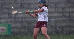 Galway's Noreen Coen scores a free against Limerick in Littlewoods Ireland Camogie League Division 1 semi-final in Birr. Photograph:  INPHO/Bryan Keane