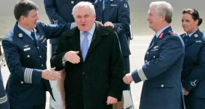 Then taoiseach Bertie Ahern before boarding the Government Jet at Casement Aerodrome in April 2008 with Lisa Smith on the extreme right. Photograph: Colin Keegan/Collins, Dublin