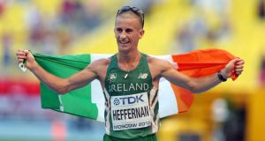 Rob Heffernan celebrates winning gold at the IAAF World Athletics Championshops in Moscow on August 14th, 2013. Photograph: Ian MacNicol/Inpho