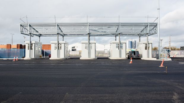 The new Brexit checkpoints under construction at Dublin Port. Photo: Photograph: James Forde/The Irish Times