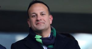 Leo Varadkar attends the Six Nations match between Ireland and France at the Aviva Stadium, Dublin on Sunday. Photograph: Peter Morrison/AP