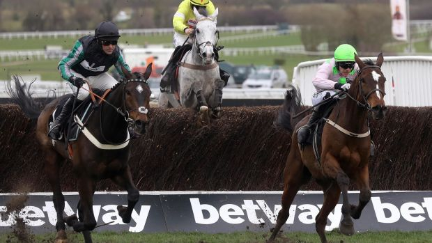 Altior (L) en-route to Champion Chase victory in 2018. Photograph: James Crombie/Inpho
