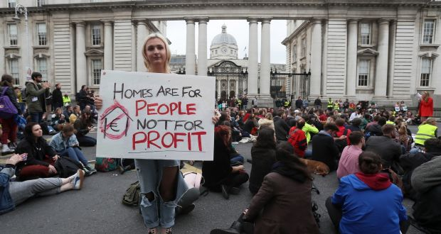 f71bbb7f3ee A file photograph of participants at a previous Raise the Roof protest in  Dublin. Trade