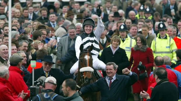Barry Geraghty after winning the 2003 Queen Mother Champion Chase on Moscow Flyer at Cheltenham. Photograph: Patrick Bolger/Inpho