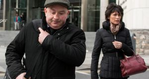Patrick Quirke (50), of Breanshamore, Co Tipperary, is pictured with his wife Imelda. He  has pleaded not guilty to a murder charge  at the Central Criminal Court Dublin. Photograph: Collins Courts.
