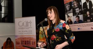 Cúirt programme director Emily Cullen  at the launch of Cúirt 2019 at The Nuns Island Theatre last Friday. Photograph: Boyd Challenger