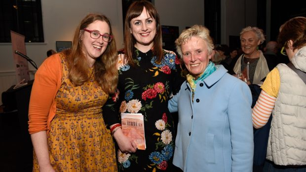 Jennifer Cunningham, Cuirt cover artist, Cúirt programme director Emily Cullen and Lorna Siggins at the launch of Cúirt 2019 at The Nuns Island Theatre last Friday. Photograph: Boyd Challenger