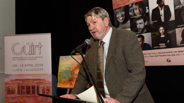Paraic Breathnach, at the launch of Cúirt 2019 at The Nuns Island Theatre on Friday evening. Photograph: Boyd Challenger