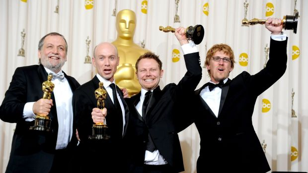 Joe Letteri, Stephen Rosenbaum, Richard Baneham and Andrew Jones, winners of Best Visual Effects for Avatar in 2010. (Photo by Jason Merritt/Getty Images)