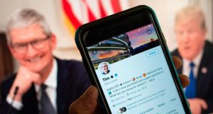 US president Donald Trump tweeted about Apple CEO Tim Cook, calling him Tim Apple to 'save time'. Photograph:  Stringer/AFP/Getty Images