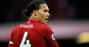"Virgil van Dijk: ""At times it is going to be very hard and we will need to patient."" Photograph: Peter Powell/EPA"