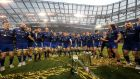 Leinster players celebrate after winning the Guinness Pro 14 Final against Scarlets at the Aviva stadium in may 2018. Photograph:  Billy Stickland/Inpho