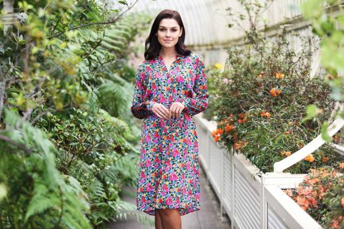 IN BLOOM: Kelly models a dress form New Look at the Jervis Shopping Centre, at the Botanic Gardens in Dublin. Photograph: Leon Farrell/Photocall Ireland