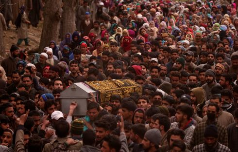 KASHMIRI CRISIS: People carry a coffin containing the body of Mudasir Khan, a suspected militant, who according to local media was killed during a gun battle with Indian security forces, at his funeral in Midoora village in south Kashmir's Pulwama district. Photograph: Danish Ismail/Reuters