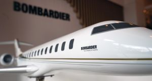 A model of a Bombardier aircraft. The Canadian company is planning to reduce the number of staff it employs in Northern Ireland.  Photograph: Nicky Loh/Bloomberg