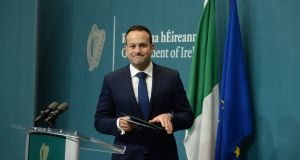 Leo Varaadkar, speaking at a press conference in  Government Buildings on Tuesday morning. Photograph: Dara Mac Dónaill
