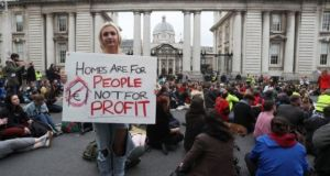 A file photograph of participants at a previous Raise the Roof protest in Dublin. Photograph: Brian Lawless/PA Wire
