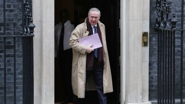 Attorney General Geoffrey Cox leaves Downing Street, London, ahead of stating his legal advice over Brexit. Photograph: Steve Parsons/PA
