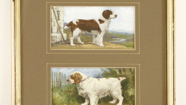 One of four original miniature trios of dogs used as the prototypes for Gallaher cigarette cards (£300-£500)