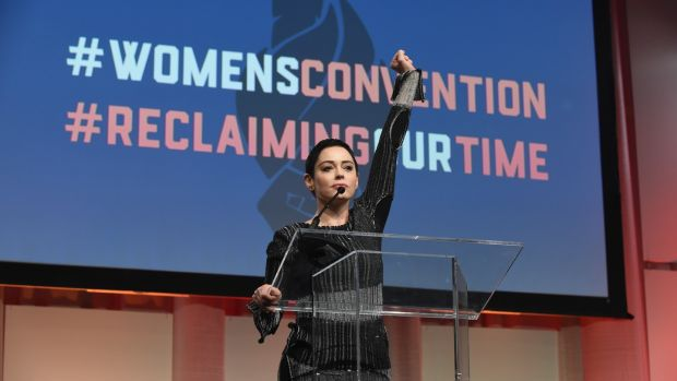 Rose McGowan onstage at the Women's Convention in Detroit, Michigan, in October 2017. Photograph: by Aaron J Thornton/Getty Images