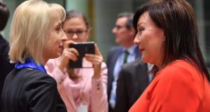 Poland's finance minister Teresa Czerwinska and Czech Republic finance minister Alena Schillerova ahead of the Ecofin meeting. Photograph: Emmanuel Dunand/AFP/Getty Images