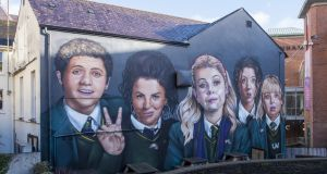 Derry Girls: the portrait of the show's stars, on the side of Badger's Bar on Orchard Street, is a new focal point