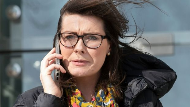 Siobhán Phillips, leaving court on Tuesday after giving evidence in the trial of Patrick Quirke. Photograph: Collins Courts