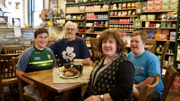 Kerry Browne with her family in Browne's Irish Marketplace in Kansas City. Photograph: Bruce N Meyer