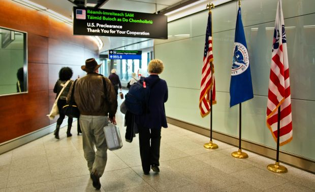 Upon landing in the US, travelers are processed as domestic arrivals as they go through customs and border protection in Dublin