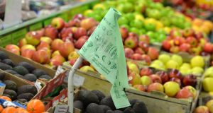 Biodegradable plastic bags used to package fruit and vegetables in a Dublin  supermarket. Photograph: Alan Betson