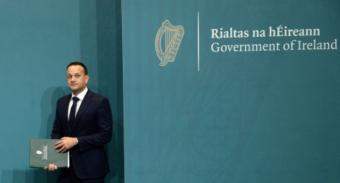 MAN IN BLACK: Taoiseach Leo Varadkar at a press conference on the latest Brexit developments at Government Buildings, Dublin. Photograph: Dara Mac Donaill