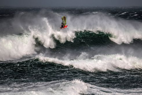 EYE OF THE STORM: Thomas Traversa of France performs at the Red Bull Storm Chase at Magheroarty, Donegal. Photograph: Sebastian Marko/Inpho