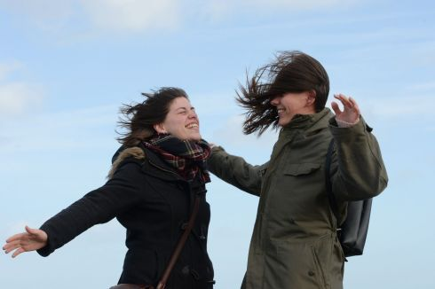GAELIC GALES: Laura and Katharine Nagel from Germany encounter a strong breeze on the east pier at Howth before the full force of Storm Gareth hit the Dublin area. Photograph: Alan Betson