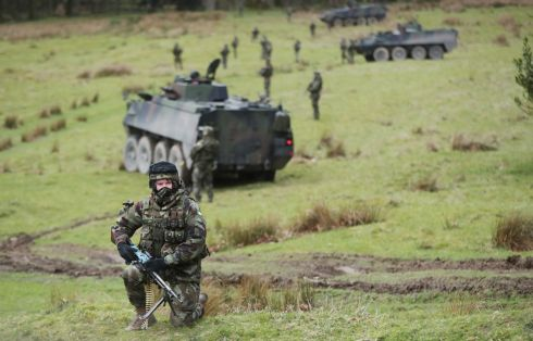 AWAITING DEPLOYMENT: Members of 59th Infantry Group take part in a mission-readiness exercise at Coolmoney Camp in Co Wicklow as they prepare for their upcoming deployment to Syria. Photograph: Niall Carson/PA Wire