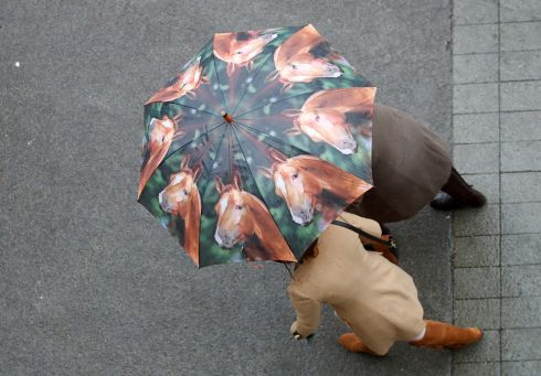 YOU GUESSED IT: Racegoers shelter from rain at the Cheltenham Festival of horseracing in England.  Photograph: Eddie Keogh/Reuters