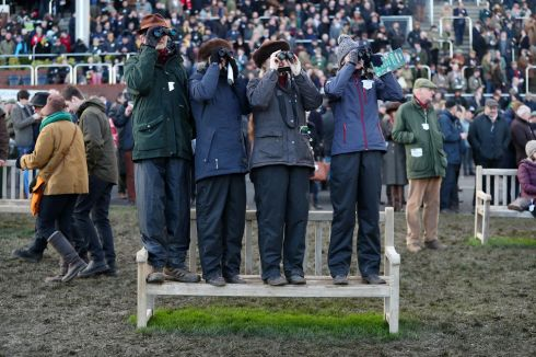 FAR-SIGHTED: Spectators watch the action during Champion Day of the 2019 Cheltenham Festival at Cheltenham Racecourse. Photograph: Andrew Matthews/PA Wire