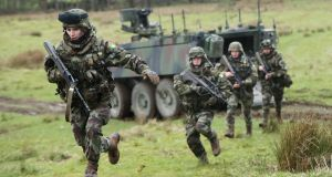 Members of 59th Infantry Group take part in a mission-readiness exercise at Coolmoney camp in Co Wicklow as they prepare for deployment to Syria. Photograph: Niall Carson/PA Wire