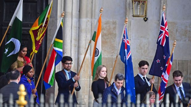 Flag bearers at the Commonwealth service at Westminster Abbey, London. Photograph: Victoria Jones/PA Wire