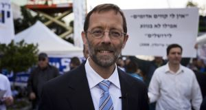 Zehut party leader Moshe Feiglin advocates a mix of extreme right-wing and libertarian policies. Photograph: Menahem Kahana/AFP/Getty Images
