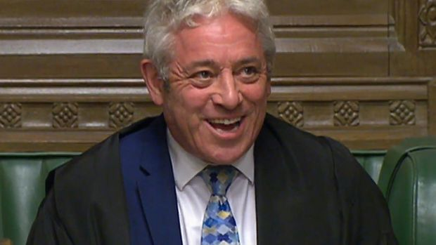 John Bercow, speaker of the House of Commons called the result. Photograph: EPA/UK Parliamentary Recording Unit