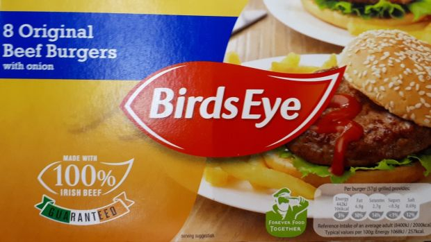 Birds Eye Original Beef Burgers, have just 77 per cent beef despite the front of the packet saying 'Made with 100 per cent Irish beef'.