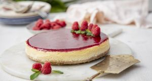 Baked cheesecake with red berry glaze. Photograph: Harry Weir