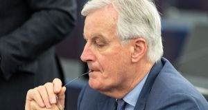 "Chief EU Brexit negotiator Michel Barnier in Strasbourg on Wednesday. ""The negotiation on article 50 is over. We have a treaty. It is here,"" he said. Photograph: Patrick Seeger/EPA"